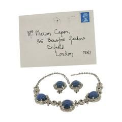 Ciner 1949 Rhinestone and Blue Glass Necklace and Earrings Set