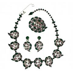Christian Dior by Mitchel Maer 1950s Vintage Rhinestone Necklace, Earrings and B