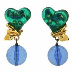 Christian Lacroix 1990s Vintage Perspex Heart Earrings