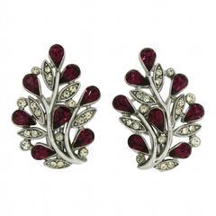 Trifari 1940s Ruby Rhinestone Floral Vintage Earrings