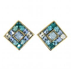Givenchy 1980s Blue and Green Rhinestone Vintage Earrings