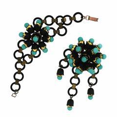 1940s Turquoise Glass and Black Plastic Vintage Jewellery Set