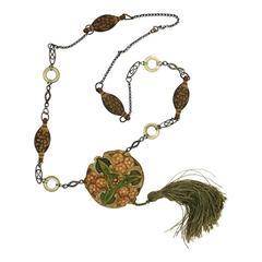 1910s Art Nouveau Celluloid Vintage Pendant Necklace
