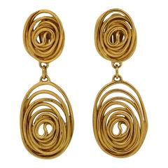 Balenciaga 1980s Gold Tone Swirl Vintage Statement Earrings
