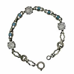 1920s Rhinestone and Faux Turquoise Vintage Bracelet