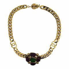 Chanel 1970s  Gripoix Glass Vintage Necklace