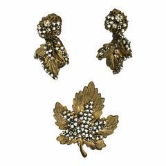 Miriam Haskell 1960s Maple Leaf Vintage Brooch and Earrings Set