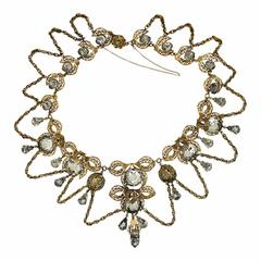 1950s French Couture Gilt Metal and Rhinestone Vintage Necklace
