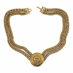 Chanel 1980s Gold Plated Medallion Vintage Necklace