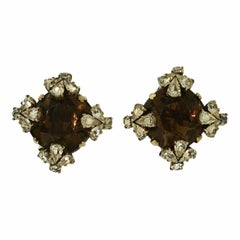 Roger Scemama for Christian Dior 1950s Vintage Rhinestone Earrings
