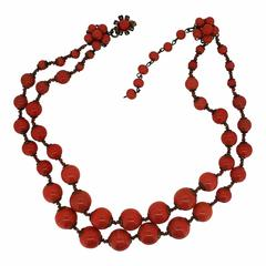 Miriam Haskell 1960s Coral Glass Bead Vintage Necklace