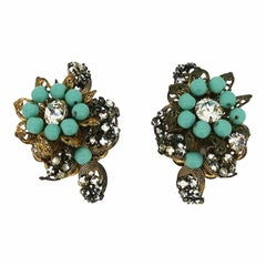 Miriam Haskell 1950s Rhinestone & Turquoise Glass Vintage Earrings