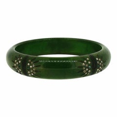1940s Green Carved Bakelite and Rhinestone Vintage Bangle