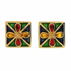 Yves Saint Laurent 1980s Enamel and Plastic Vintage Earrings