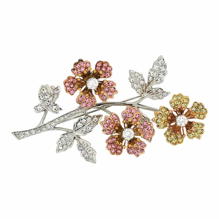 Swarovski 1980s Rhinestone En Tremblant Vintage Floral Brooch 1
