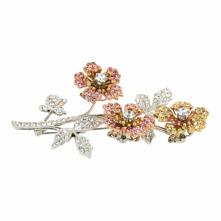 Swarovski 1980s Rhinestone En Tremblant Vintage Floral Brooch 4