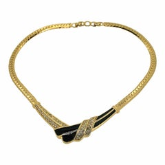 Christian Dior 1970s Black Enamel and Rhinestone Vintage Necklace