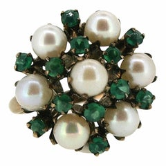 1950s Faux Pearl and Green Glass Vintage Ring