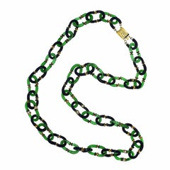 Archimede Seguso for Chanel 1970s Blue and Green Glass Link Vintage Necklace