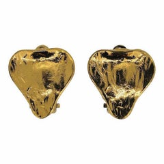 Yves Saint Laurent 1980s Gold Plated Vintage Heart Earrings