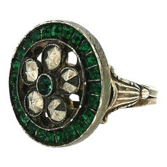 René Mittler 1920s Green Rhinestone and Cut Steel Vintage Ring