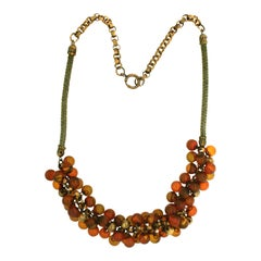 1940s Amber Bakelite and Gilt Metal Ball Vintage Necklace