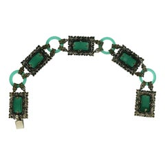 1920s Green Glass and Silver Filigree Vintage Bracelet