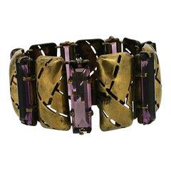 1920s Art Deco Purple Glass Vintage Bracelet