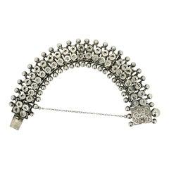 Victorian Sterling Silver Antique Star Design Bracelet