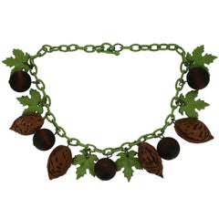 1930s Celluloid and Wood Leaf and Nut Vintage Necklace