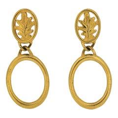 Givenchy 1980s Gold Tone Leaf Design Vintage Hoop Earrings