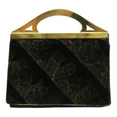 DRGM 1900s Art Nouveau Velvet and Brass Vintage Evening Bag