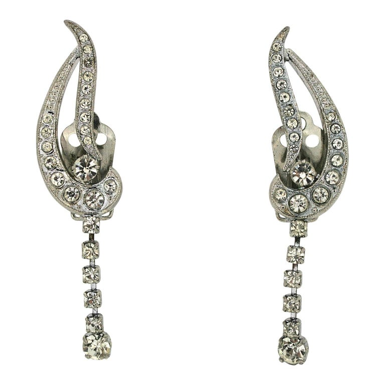 1950s rhinestone vintage cuff and drop earrings for sale