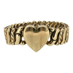 La Mode 1940s Gold Filled Vintage Sweetheart Bracelet