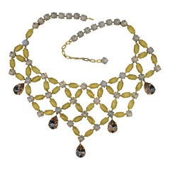 1950s Yellow and Pink Rhinestone Vintage Statement Necklace