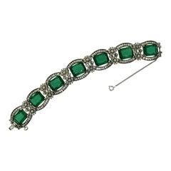 Jomaz 1960s Emerald Green Glass Vintage Floral Bracelet