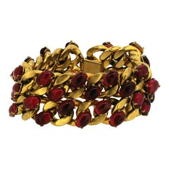 1940s Red Glass and Gilt Metal Vintage Statement Bracelet