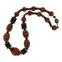 1930s Czechoslovakian Marbled Amber Glass and Wooden Bead Vintage Necklace