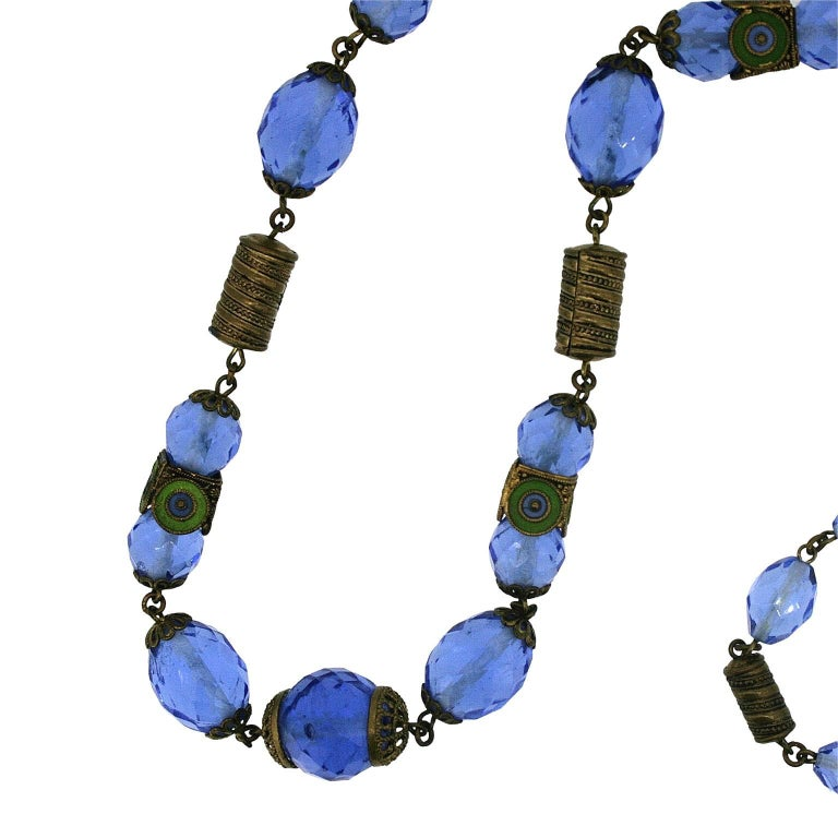 lot gemstone gift designer bead tibet fashion genuine blue glass necklace silver crystal item jewelry