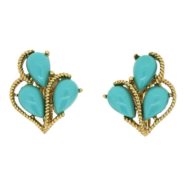 Trifari 1960s Turquoise Cabochon Brooch and Earrings Set 2