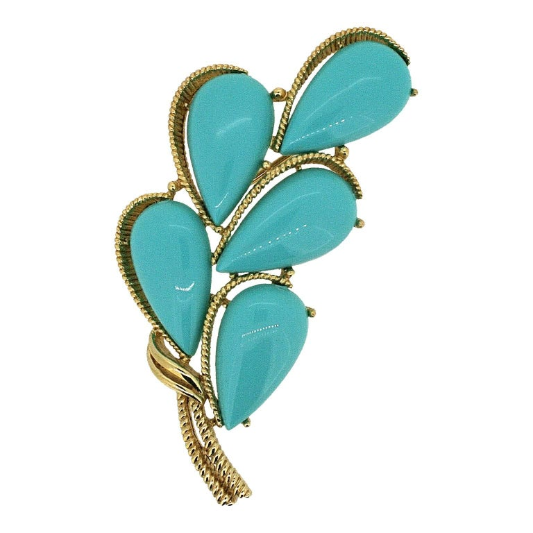 Trifari 1960s Turquoise Cabochon Brooch and Earrings Set 4