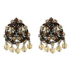 Christian Dior 1960 Vintage Rhinestone and Glass Bead Earrings