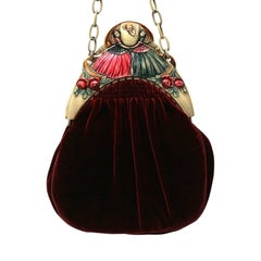 1920s Burgundy Velvet and Hand Painted Celluloid Vintage Evening Bag