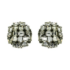 Coppola e Toppo 1960s Clear Rhinestone Vintage Circular Earrings