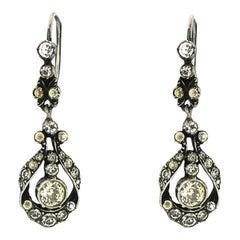 Edwardian Silver and Rhinestone Vintage Earrings
