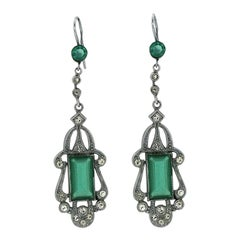 Art Nouveau 1910s Green Glass Vintage Earrings