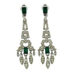 1950s Emerald Green Rhinestone Vintage Drop Earrings