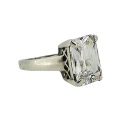 1930s Art Deco Solitaire Clear Rhinestone Vintage Ring