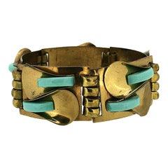 1920s Art Deco Turquoise Glass Vintage Lily Bracelet