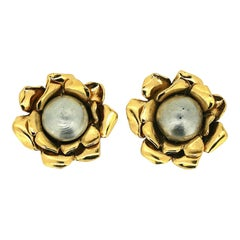 Yves Saint Laurent 1980s Faux Pearl Vintage Flower Earrings